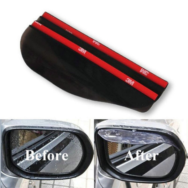 2Pcs/set Creative Fashion Universal Rear View Black Side Mirror Rain Snow Shield For Car Auto (Size: 17.6cm by 5.9cm, Color: Black)