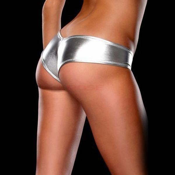 Women Sexy Metallic Lingerie G-String Micro Thong Underwear Pants Bikini Briefs