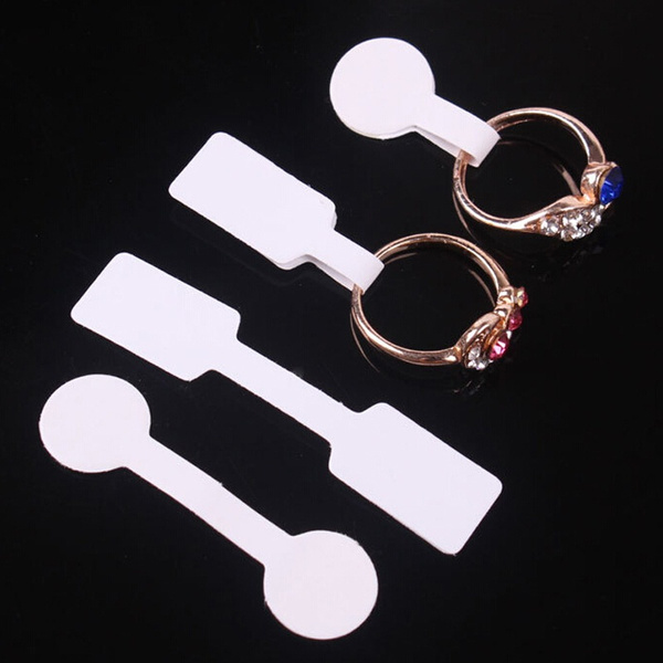 100pcs Practical Blank Jewelry Sticky Necklace Ring Hang Size Price Label  Tags Ring Sticker Display Tags Stickers (Not include Ring)