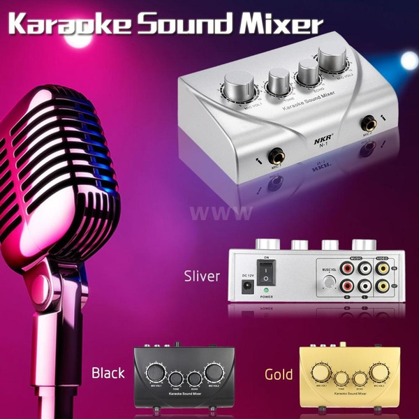 Picture of Karaoke Sound Mixer Dual Mic Inputs With Cable N-1 Silver Color Music Toolsonly Us Plug