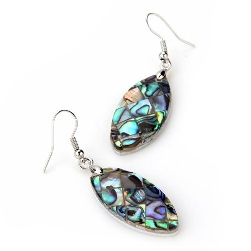 Oval Abalone Paua Shell Long Dangle Earrings 1.3x0.6