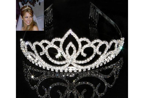 Wedding Party Bridal Bridesmaid Crystal Rhinestone Crown Headband Tiara Clasp Hair Clip Pin