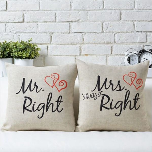 Picture of Fashion Mr.right Mrs.always Right Print Cotton Home Pillow Case Cushion Warm Love Covers
