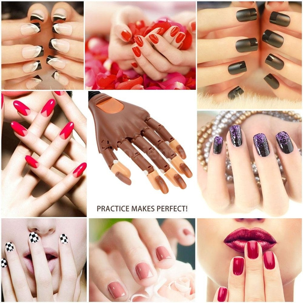 Wish | Adjustable Nail Art Model Hand False Nails Matched Practice ...