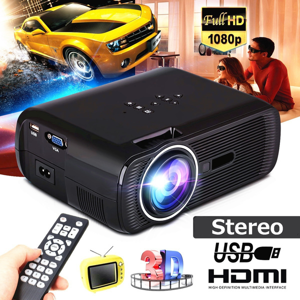 Picture of 1000 Lumens 800480 Resolution Portable Hd Led Projector Home Cinema Theater Vga Usb Sd Av Hdmi Support Pc Laptop Tv Box Ipad Smartphone For Home Movie Night Video Games Outdoor Movie