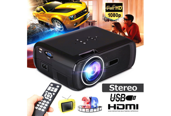 Full HD 3000 Lumens Portable LED Projector Home Theater Cinema LCD Wireless HDMI AV/VGA/USB/SD/HDMI/TV Multimedia Beamer Large Screen Christmas Gift with Remote Control