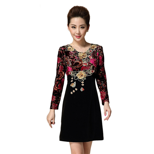 quality design 0cb14 54a28 L-4XL 2016 Spring dress women dress damen kleider O-neck Palace Floral  Embroidery loose slim mini rose red dress D61412S