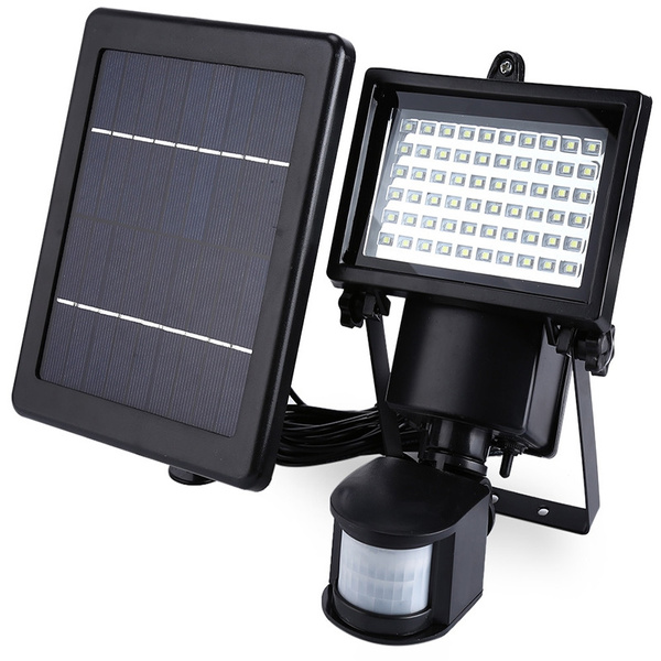 Picture of 60 Led Super Bright Waterproof Solar Powered Pir Motion Detector Door Wall Lamp Color Black
