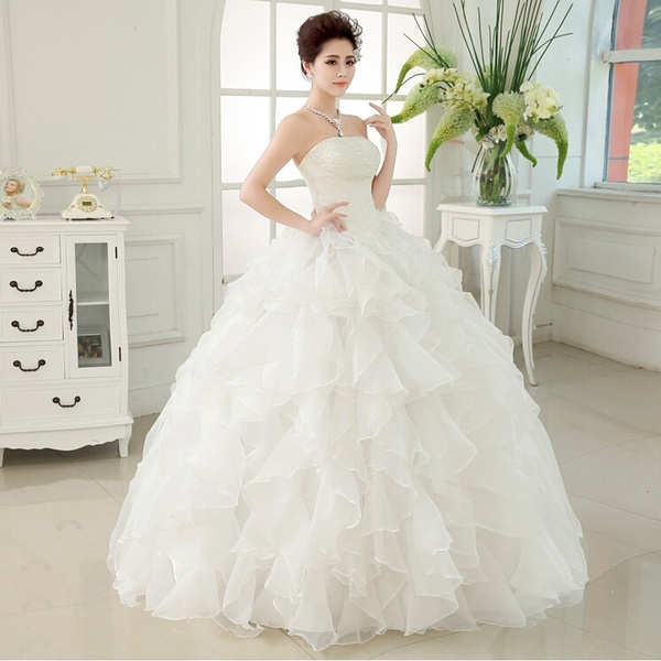 Wish | Bride Tube Top Wedding Dress Back Bandage Exquisite Ruffled Dress