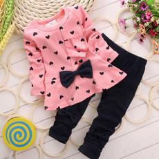 Gmama New Baby Sets Heart-shaped Print Bow Cute 2PCS Kids Set T shirt + Pants Fits 0 to 18 Months