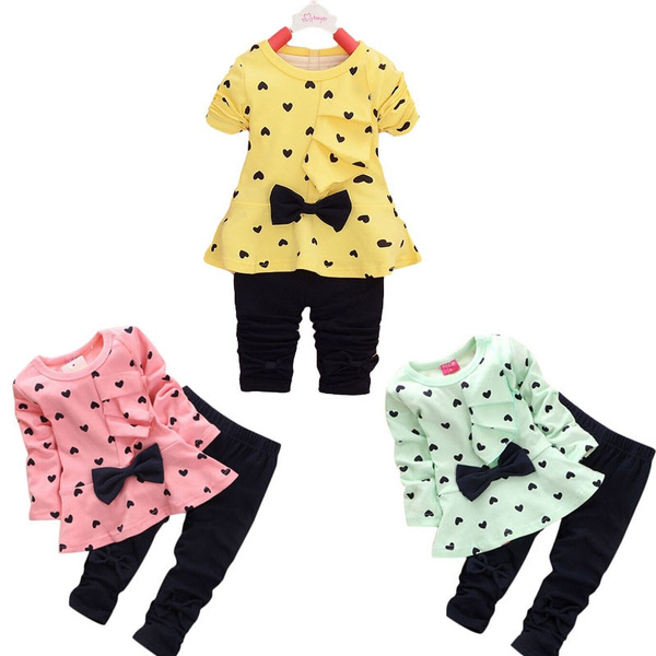 Gmama New Baby Sets Heart-shaped Print Bow Cute 2PCS Kids Set T shirt + Pants Fits 0 to 18 Months