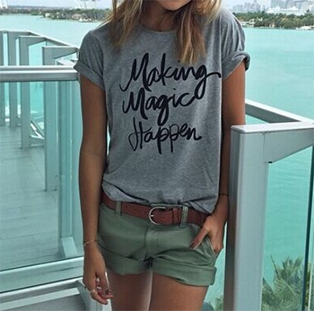 Summer Casual T shirt Graphic Tees Women Letters Printed Round Neck Short Sleeve T-shirt