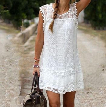 Summer, Lace Dress, Lace, Mini