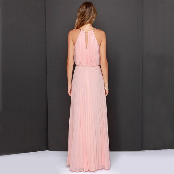 Womens Sleeveless Halter Pleated Fashion Sexy Dress