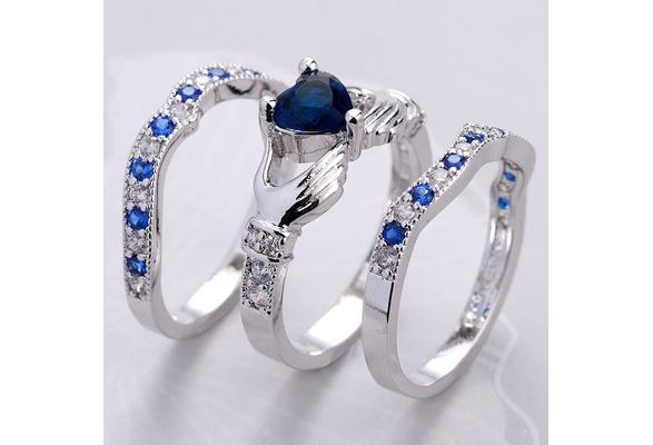 Claddagh Heart Cut Sapphire & 925 Sterling Silver Crystal Ring Wedding 3pcs