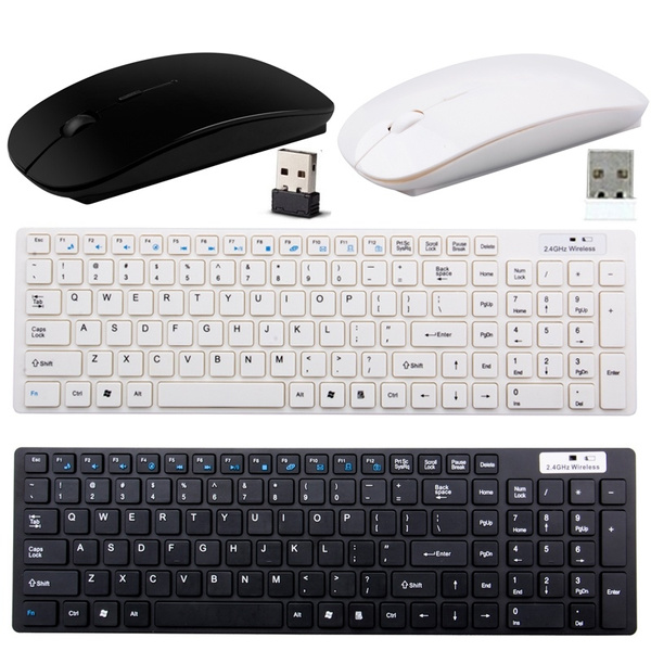 Picture of White/black 2.4g Optical Wireless Keyboard And Mouse Usb Receiver Kit W/cover For Pc