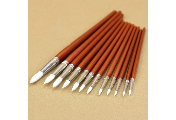 12pcsFine Red Pearl Wooden Paint Acrylic Watercolor Oil Painting Artists Brushes TYA