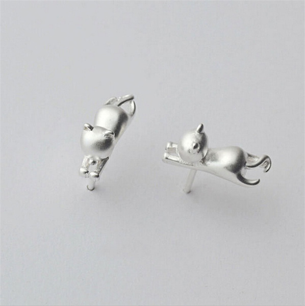 Casual Delicate Tiny Cute Cats Earrings Chic Silver Plated Kitty Stud Earrings