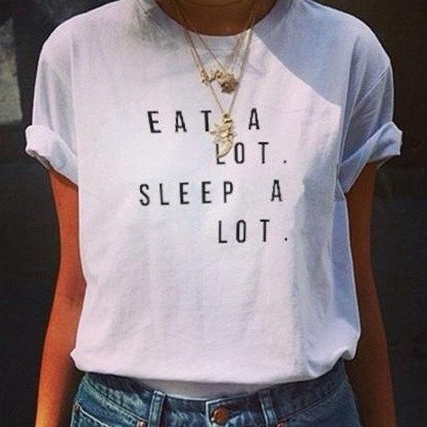 Hot Summer Style Eating a Bunch Card Lot Women Sleep Funny T Shirts for Girls Female Plus Size T Shirt