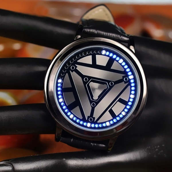 Iron-Man Leather LED Touch Watch Men and Women Smart Electronics Watches  Unisex