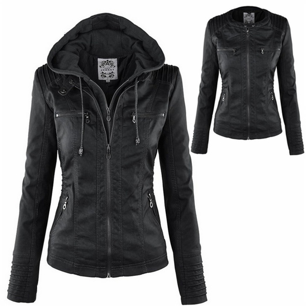 6d6b5da89 New Stunning Women's Stylish Slim Removable Hooded Leather Jackets