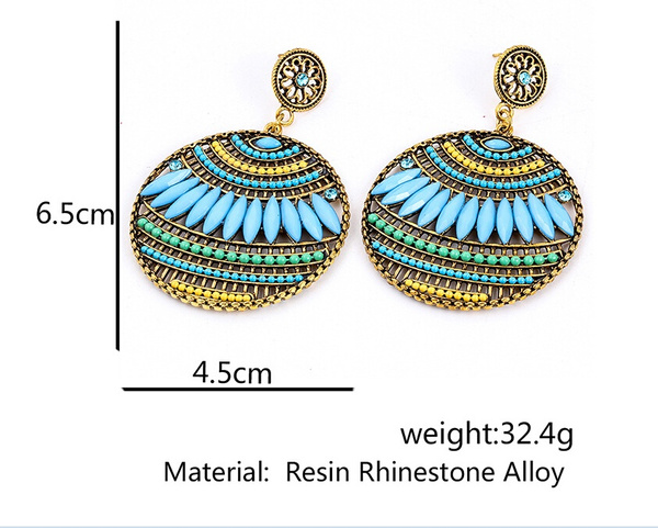Women Fashion Summer Bohemia Earring Jewelry Alloy Earrings Party Beads  Round National Wild  Dangle Earring Sky Blue Brown Green Red Stud Earring Personality Wedding Gift for Women Party Dress
