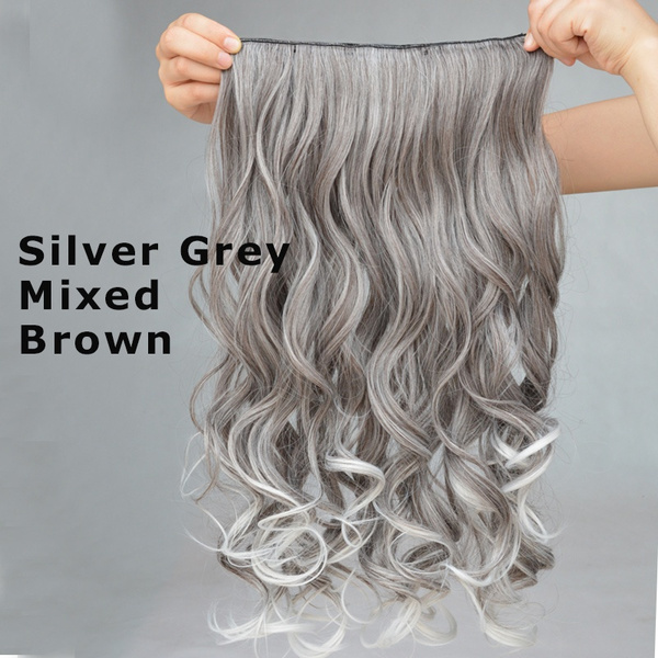 Wish 2017 Grandma Grey Silver Curly Ombre Clip In Hair Extensions