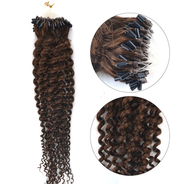 Wish 100s 20inch 100 Real Remy Micro Loop Ringbeads Hair Curly
