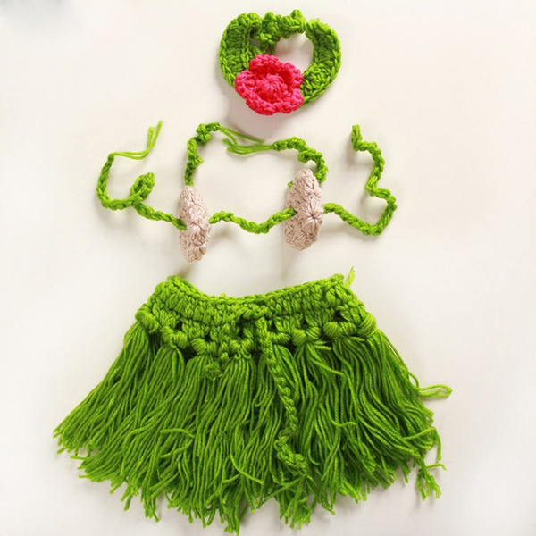 964d2e49280cd Newborn Baby girl hawaii costume infant handmade Crochet Beach Hula ...