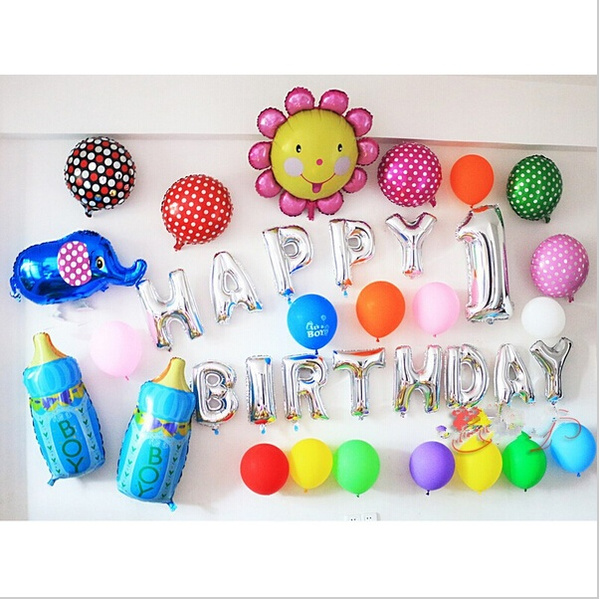 Aluminum foil membrane Happy birthday Silver/Gold set party balloons. letter balloons party decoration