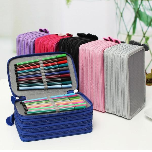 Picture of Portable Drawing Sketching Pencils Pen Zipper Case Holder Makeup Bag For 72pcs Pencils 19.5cm X 12cm X 7.5cm