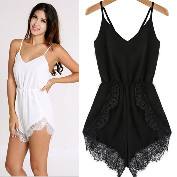 Picture of Women Strap Sleeveless Lace Chiffon Party Jumpsuit Playsuit Rompers