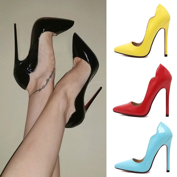 Picture of Pointed Toe High Heel Red Bottom Women Pumps Sexy Club Party Women Fashion Shoes 12cm Plus Size Euro Size 36-41