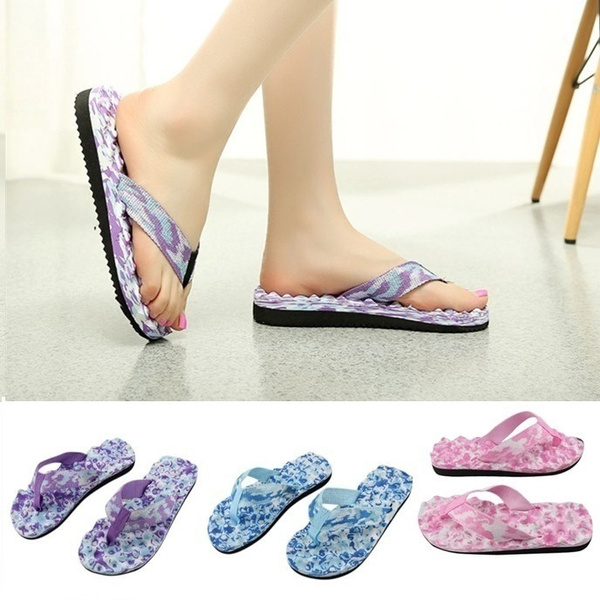 Picture of Women's Men's Camouflage Flat Slippers Summer Beach Slippers Massage Slippers