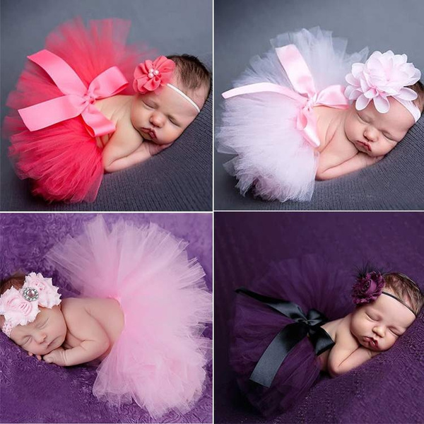Infant Newborn Baby Girls Flower Headband Mesh Ball Gown Tutu Skirts Photography Accessory Prop