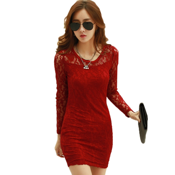 3a1a8c80a New 2016 Women Short Lace Dress Black Wine Red White Elastic Bodycon ...