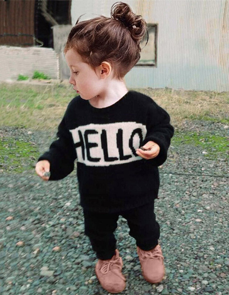 Toddler Kids Baby Girls Boys Print Hello Bye T-shirt Tops+Pants Trousers Outfits Clothing Set