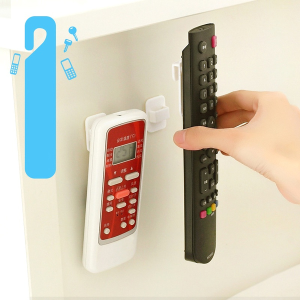 Picture of 2pcs Wall Mounted Remote Control Storage Hook Plastic Sticky Hooks Holder For Tv Air Conditioner