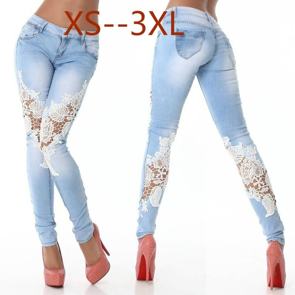 lace skinny jeans