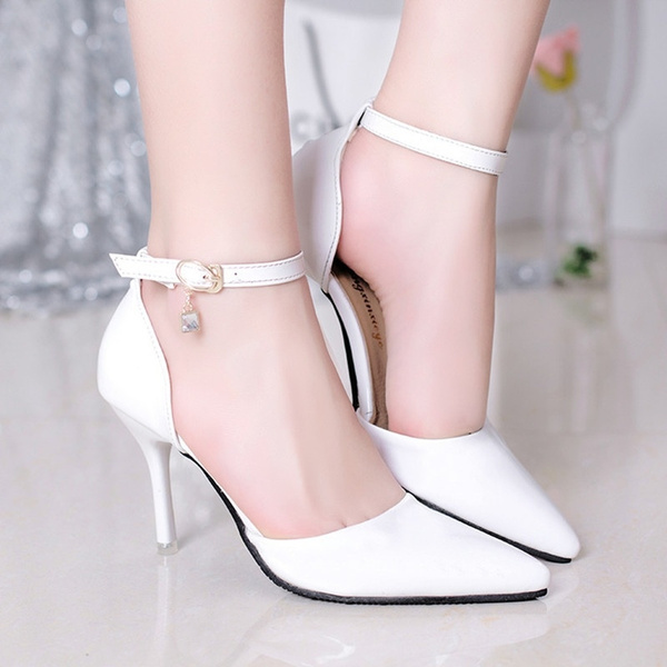 Picture of Women Fashion Patent Sexy Stiletto High Heels Pointed Toe Strap Pumps