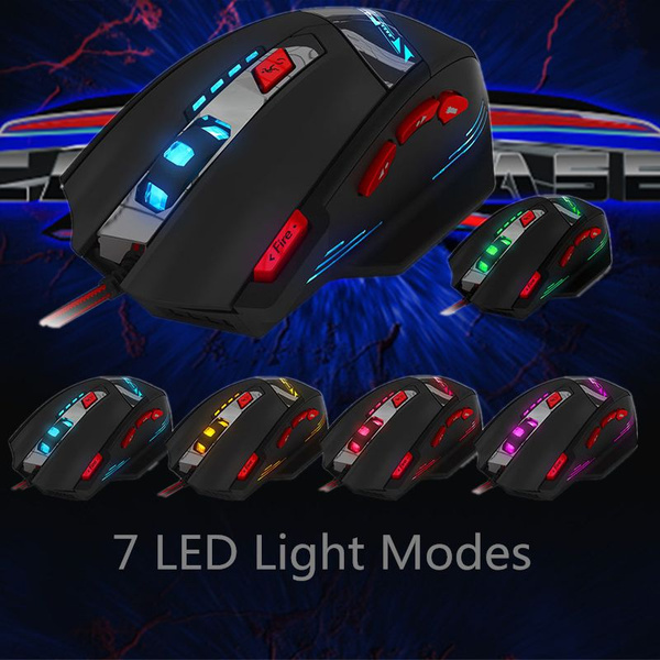 Picture of Zelotes T-90 8 Key Wired Usb Optical Game Mouse 9200dpi With Led Backlit Display Size 51.2 By 3.19 By 1.58 Color Multicolor