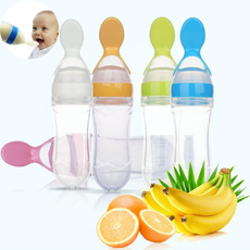 1PC 90ml Silicone Extrusion Type Feeding Spoon Three Color Rice Paste Feeding Bottle For Baby Toddler Infant