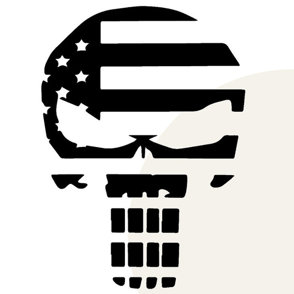 Punisher Skull American Flag Vinyl Decal StickerCar and Truck Window Graphics