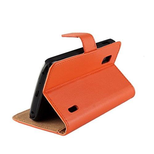 new style 50069 9511b Nexus 4 Case, Genuine Leather [Card Slot] Wallet Case Kickstand Phone Shell  [Book Flip] Cover for LG Google Nexus 4 E960 (Orange)