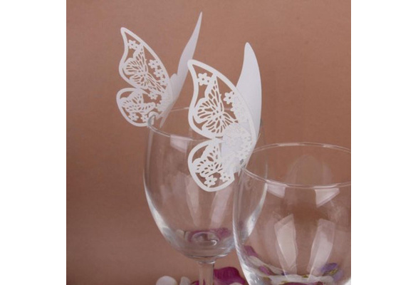 50 pcs Table Mark Wine Glass Cards Favor Butterfly Name Place Party Wedding Topselling