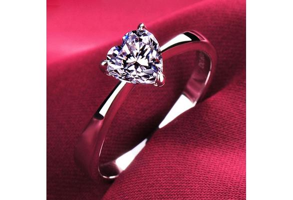 SHIPEI Original 925 Silver CZ Created Diamond Heart Shaped Rings for Women New Jewelry