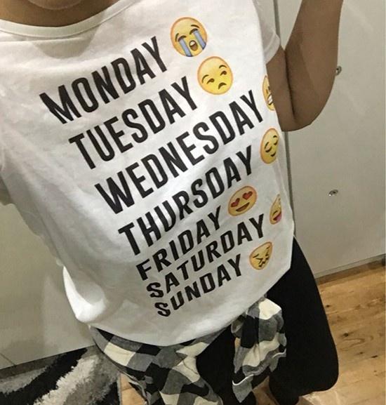 Picture of Monday Thru Sunday Emoji White Letter T-shirt