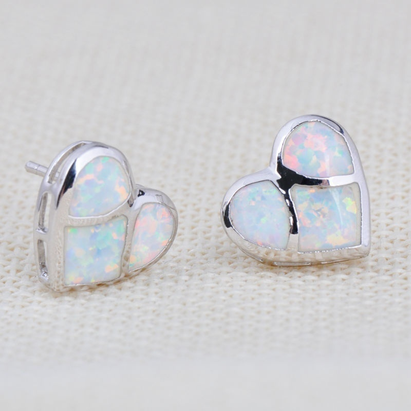 opal post silver fire earrings sterlingblue stud