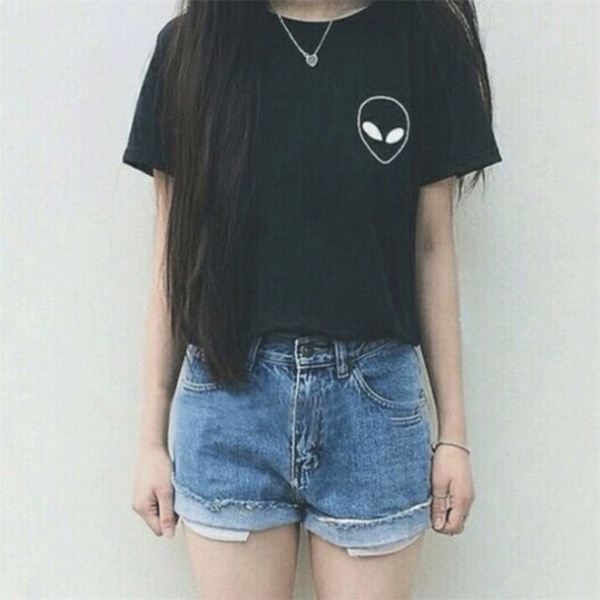 Picture of Harajuku Street Women Alien T Shirt Casual Fashion Top Summer Style Tee