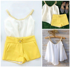 Kids Baby Girls Chiffon Woven Tops Shirt Hot Pants Summer Outfits Clothes 2-10 Years